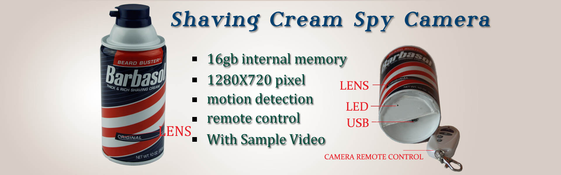 Shaving Cream Pinhole Bathroom Spy Camera DVR HD 1920X1080 32GB(Motion Activated,Remote Control )